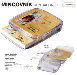 Dvojdílný reklamní plastový mincovník KONTAKT INFO A-Z Reklama CZ