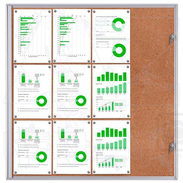 Informační Vitrína interiérová - 12xA4 korková stěna - SCRITTO ECONOMY