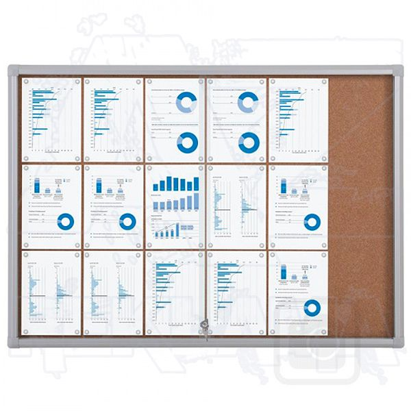 Informační Vitrína SCRITTO s posuvnými dvířky 18xA4 Korková stěna
