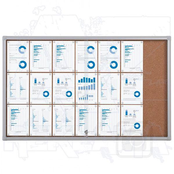 Informační Vitrína SCRITTO s posuvnými dvířky 21xA4 Korková stěna