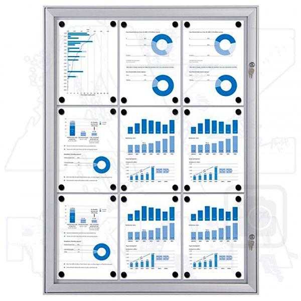 interiérová / venkovní vitrína SCRITTO pro prospekty 9xA4 A-Z Reklama CZ