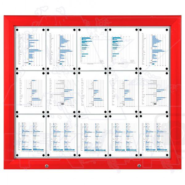 SCT PREMIUM - Červená venkovní vitrína pro prospekty 15xA4 A-Z Reklama CZ