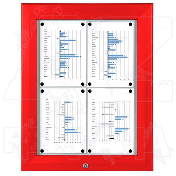 SCT PREMIUM - Červená venkovní vitrína pro prospekty 4xA4 A-Z Reklama CZ