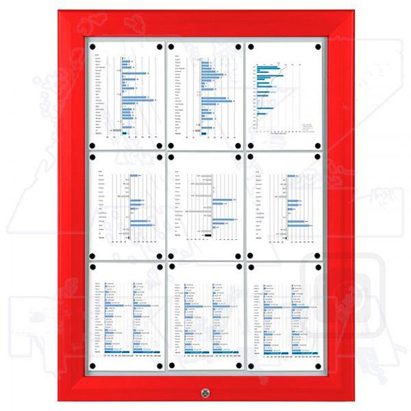 SCT - venkovní vitrína Červená 9xA4