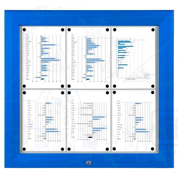 SCT PREMIUM - Modrá venkovní vitrína pro prospekty 6xA4 A-Z Reklama CZ