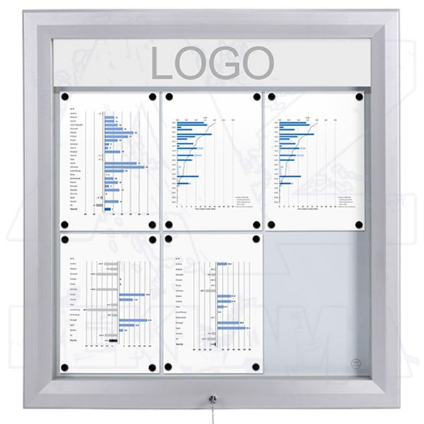 SCT PREMIUM Venkovní prosvětlená LED vitrína 6xA4