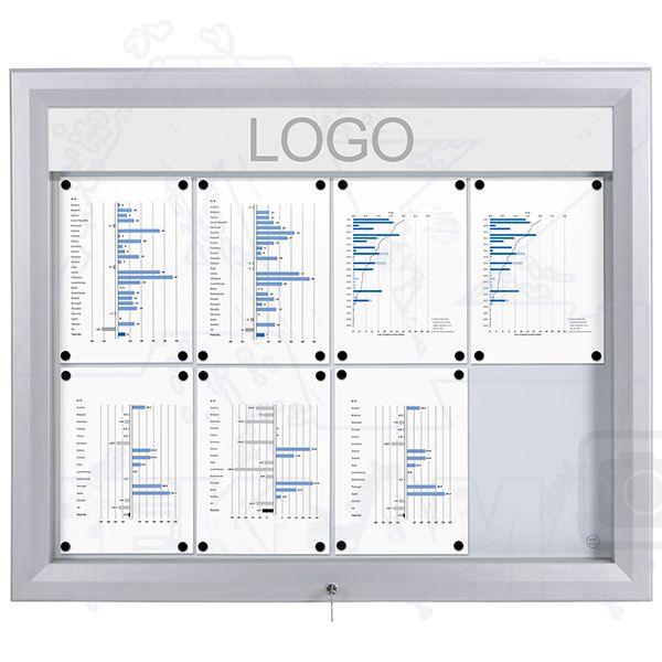 SCT PREMIUM Venkovní prosvětlená LED vitrína 8xA4