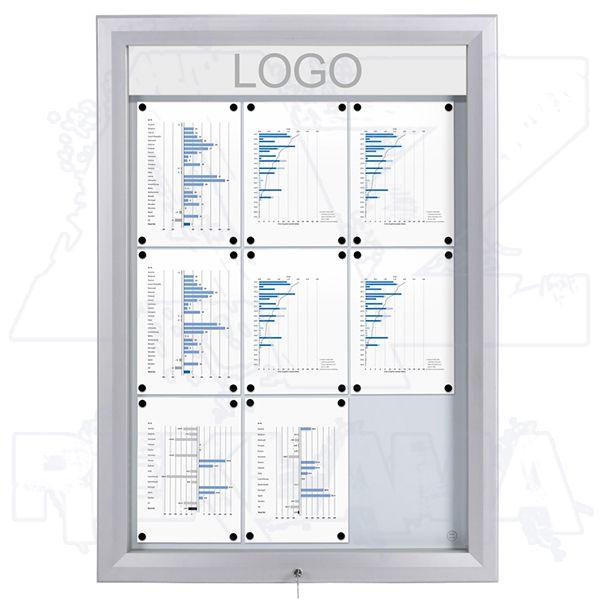 SCT PREMIUM Venkovní prosvětlená LED vitrína 9xA4