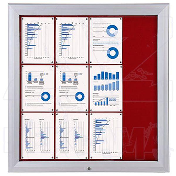 SCT PREMIUM - venkovní vitrína s Textilní stěnou 12xA4 Červená
