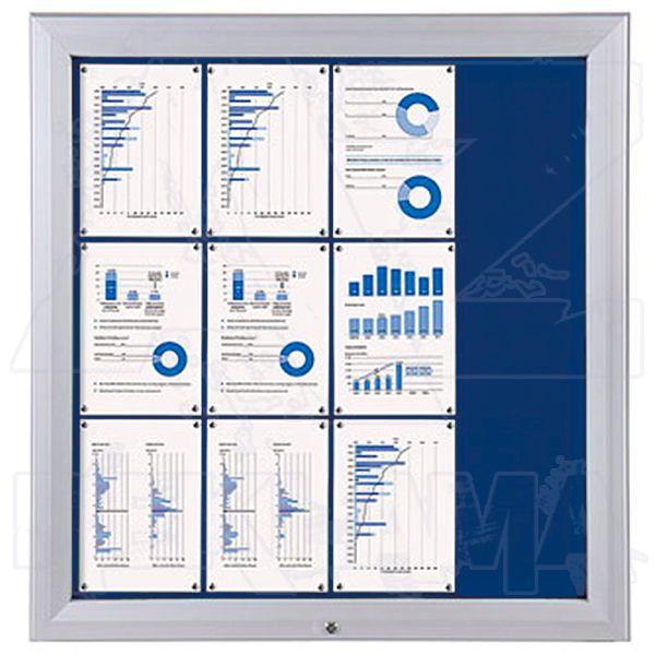 SCT PREMIUM - venkovní vitrína s Textilní stěnou 12xA4 Modrá