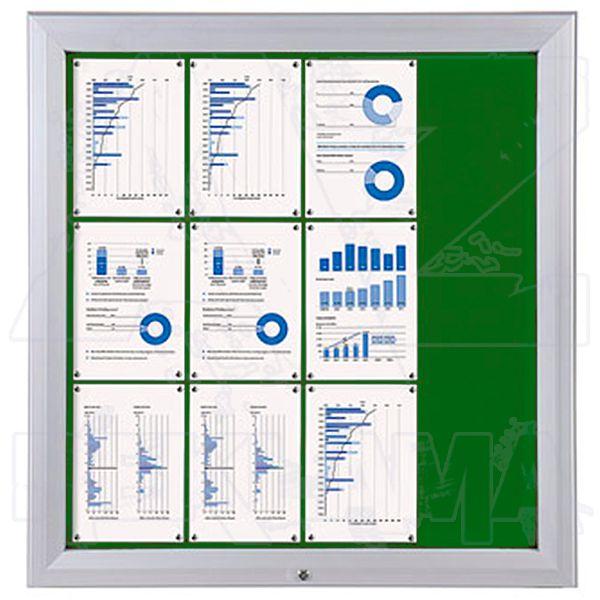 SCT PREMIUM - venkovní vitrína s Textilní stěnou 12xA4 Zelená