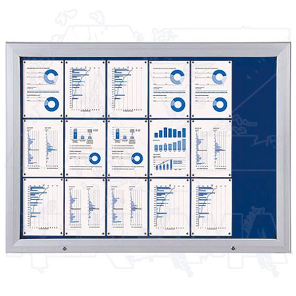 SCT vitrína Textilní stěna 18xA4 Modrá