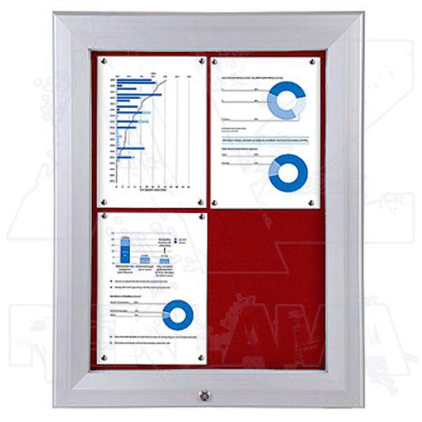 SCT PREMIUM - venkovní vitrína s Textilní stěnou 4xA4 Červená