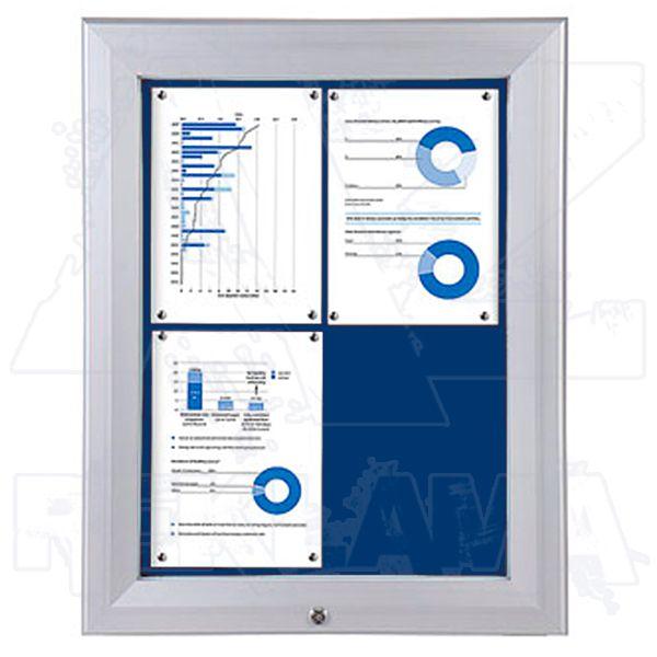 SCT PREMIUM - venkovní vitrína s Textilní stěnou 4xA4 Modrá