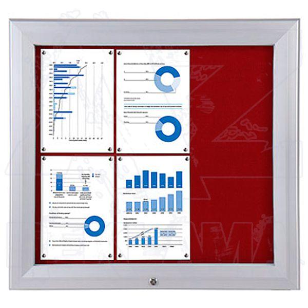 SCT PREMIUM - venkovní vitrína s Textilní stěnou 6xA4 Červená