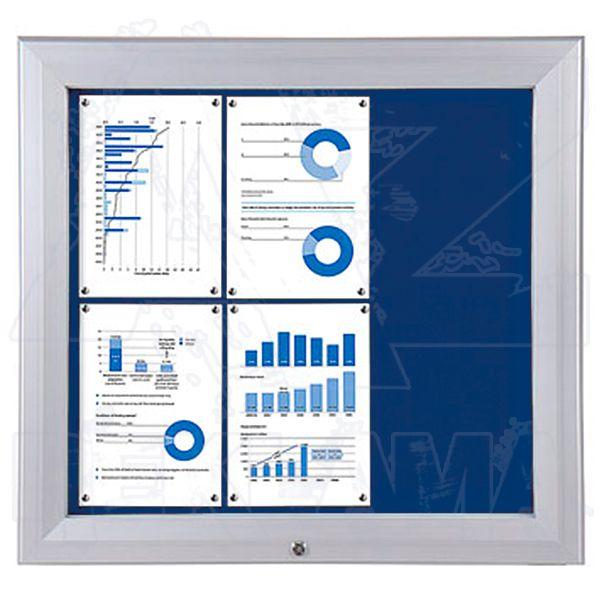 SCT PREMIUM - venkovní vitrína s Textilní stěnou 6xA4 Modrá