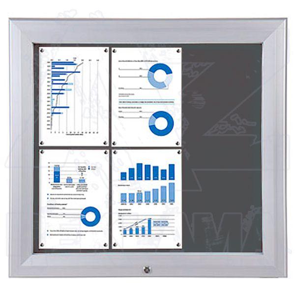 SCT PREMIUM - venkovní vitrína s Textilní stěnou 6xA4 Šedá