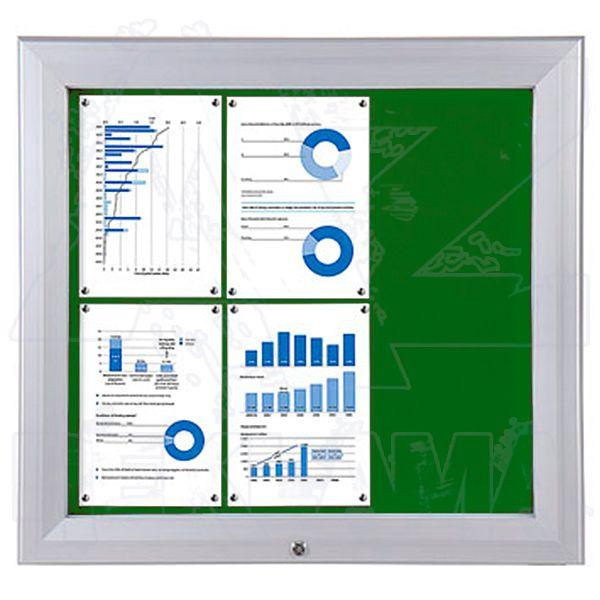 SCT PREMIUM - venkovní vitrína s Textilní stěnou 6xA4 Zelená