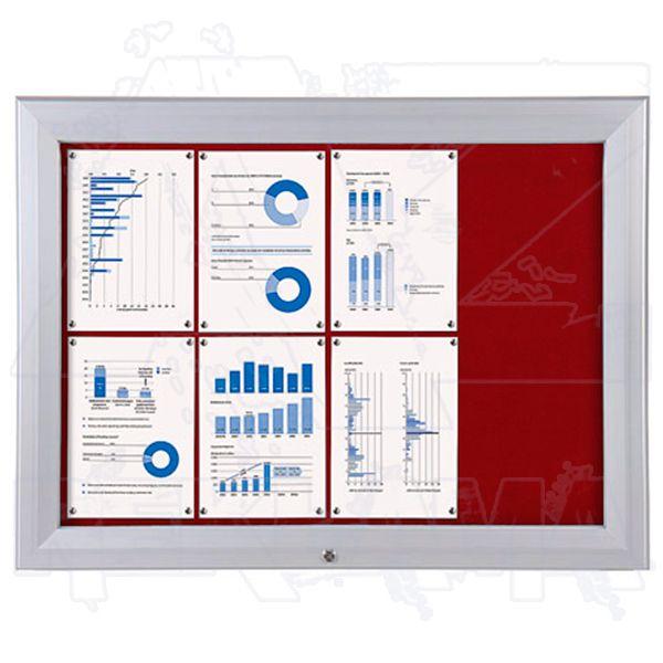 SCT PREMIUM - venkovní vitrína s Textilní stěnou 8xA4 Červená