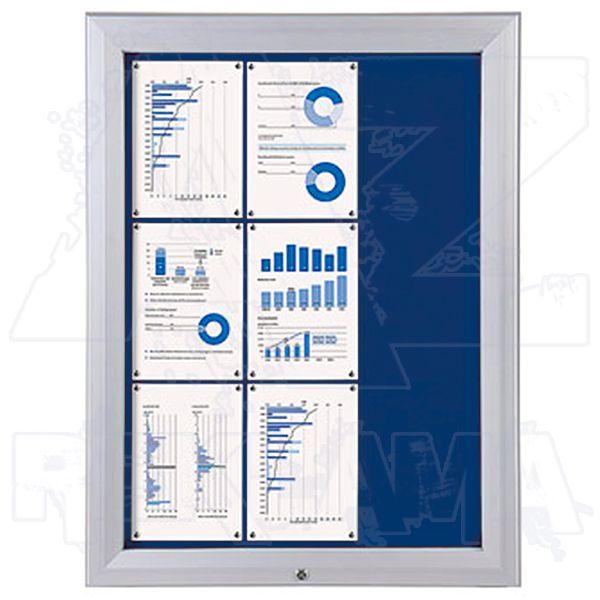 SCT PREMIUM - venkovní vitrína s Textilní stěnou 9xA4 Modrá