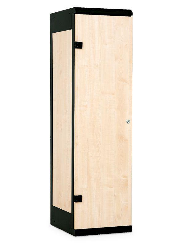 Šatní skříňka 1-dveřová, cylindrický zámek, 1970x420x500 mm, Šedá konstrukce, dveře LTD dekor Javor