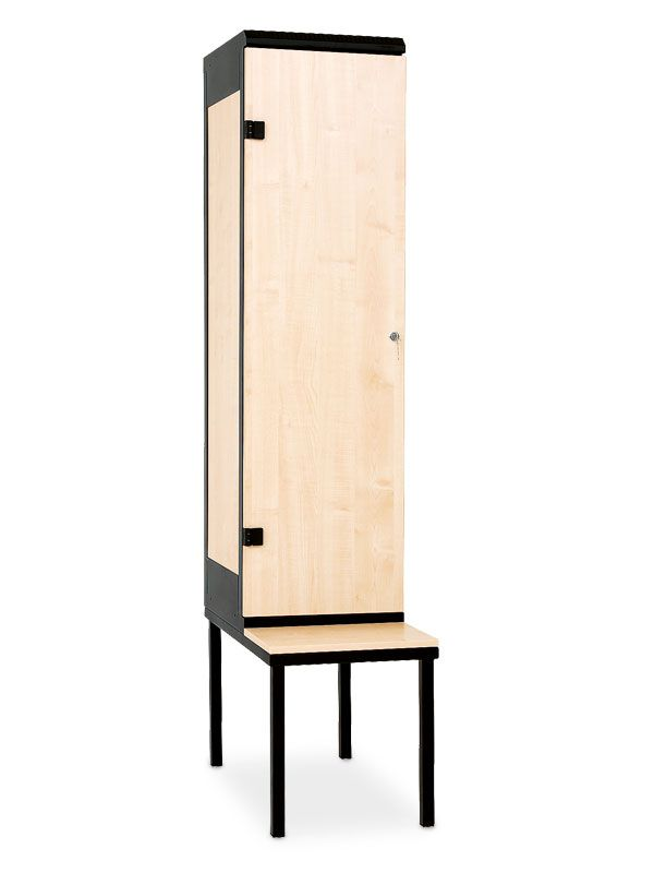Šatní skříňka 1-dveřová, s lavičkou, cylindrický zámek, 2195x420x780 mm, Šedá konstrukce, dveře LTD dekor Javor