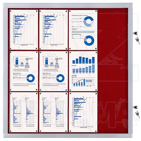 Venkovní informační vitrína SCRITTO ECONOMY 12xA4, červená textilní záda