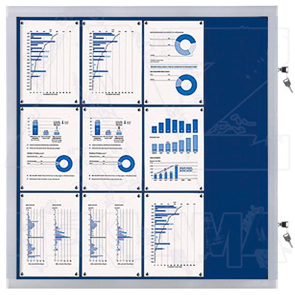 Venkovní informační vitrína SCRITTO ECONOMY 12xA4, modrá textilní záda A-Z Reklama CZ