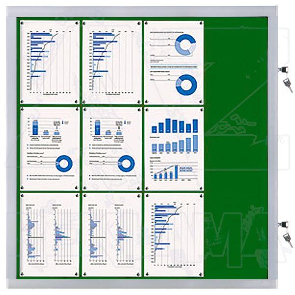 Venkovní informační vitrína SCRITTO ECONOMY 12xA4, zelená textilní záda