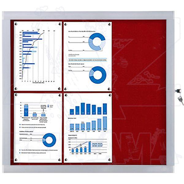 Venkovní informační vitrína SCRITTO ECONOMY 6xA4, červená textilní záda A-Z Reklama CZ