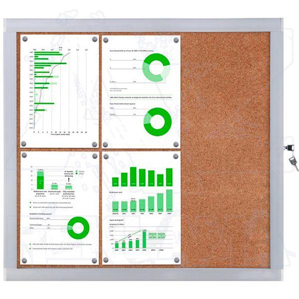 Venkovní informační vitrína SCRITTO ECONOMY 6xA4 - korková záda