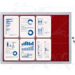 Vitrína Economy 8xA4 - textilní červená