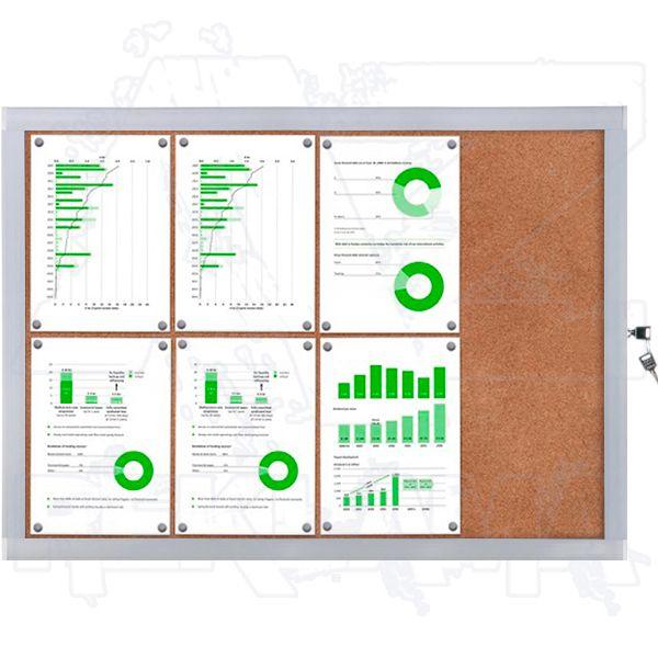 Venkovní informační vitrína SCRITTO ECONOMY 8xA4 - korková záda