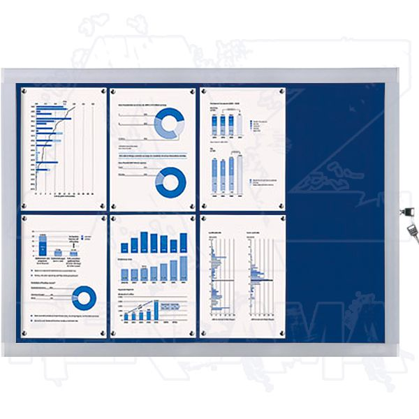 Venkovní informační vitrína SCRITTO ECONOMY 8xA4, modrá textilní záda A-Z Reklama CZ