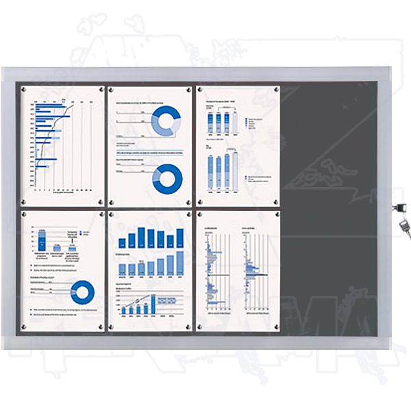 Venkovní informační vitrína SCRITTO ECONOMY 8xA4, šedá textilní záda A-Z Reklama CZ