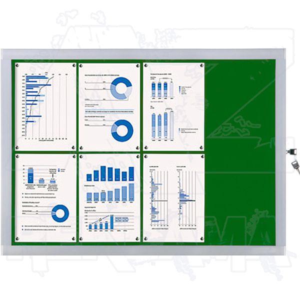 Venkovní informační vitrína SCRITTO ECONOMY 8xA4, zelená textilní záda A-Z Reklama CZ