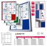 Venkovní informační vitrína SCRITTO ECONOMY 9xA4, červená textilní záda A-Z Reklama CZ