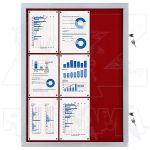 Vitrína Economy 9xA4 - textilní červená