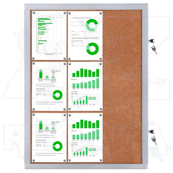 Venkovní informační vitrína SCRITTO ECONOMY 9xA4 - korková záda