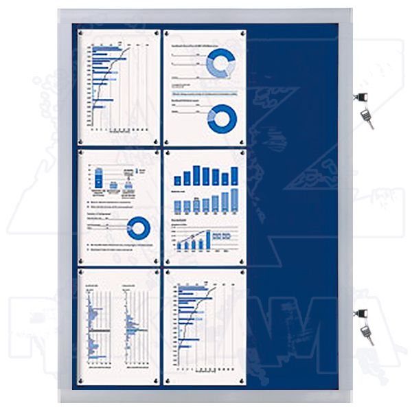 Venkovní informační vitrína SCRITTO ECONOMY 9xA4, modrá textilní záda A-Z Reklama CZ