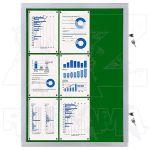 Vitrína Economy 9xA4 - textilní zelená
