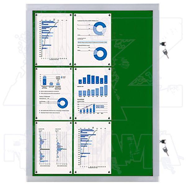 Venkovní informační vitrína SCRITTO ECONOMY 9xA4, zelená textilní záda A-Z Reklama CZ