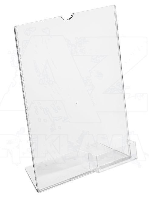 Plastový stojánek 1 list A4 + zásobník na vizitky