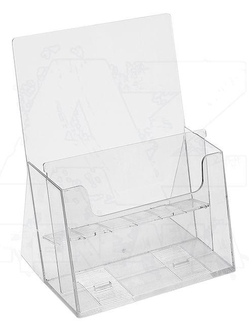 Plastový stojánek na letáky 2x A5 nad sebou stojací