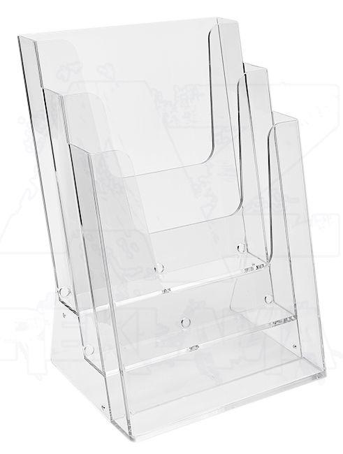 Plastový stojánek na letáky 3x A4 nad sebou stojací