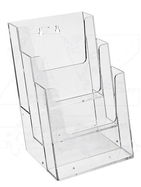 Plastový stojánek na letáky 3x A5 nad sebou na zeď