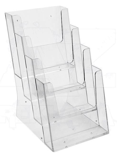 Plastový stojánek na letáky 4x A5 nad sebou stojací