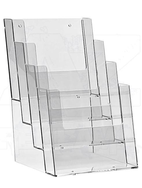 Plastový zásobník na letáky 4x A5 nad sebou stojací