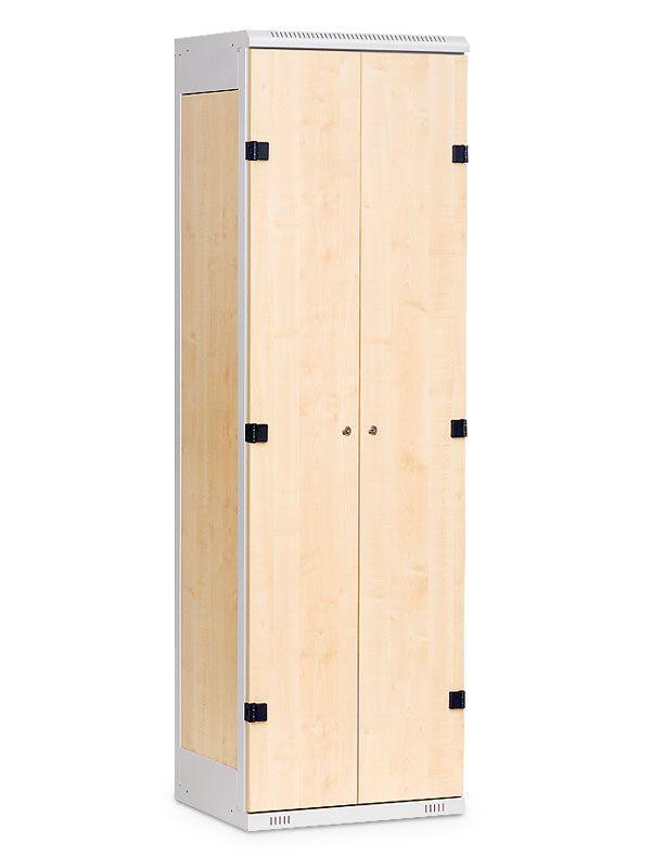 Šatní skříňka 2-dveřová, cylindrický zámek, 1970x600x500 mm, Šedá konstrukce, dveře LTD dekor Javor