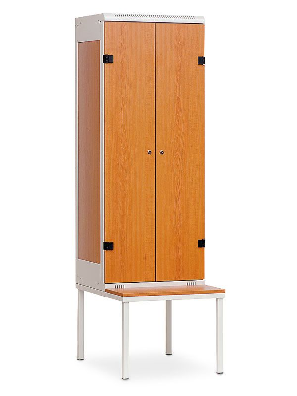 Šatní skříňka 2-dveřová, s lavičkou, cylindrický zámek, 1970x600x780 mm, Šedá konstrukce, dveře LTD dekor Třešeň